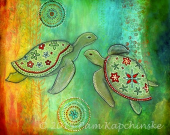 "8X10 Archival Print of Original Mixed Media Painting--""Turtles 1""--Pam Kapchinske"