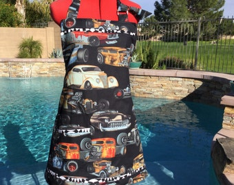Ready to Ship - Sale -  Unisex  Reversible Rat Rods Chef Apron, Great For Grilling, Cooking, Kitchen, Giflt Ideas, Stocking Stuffers