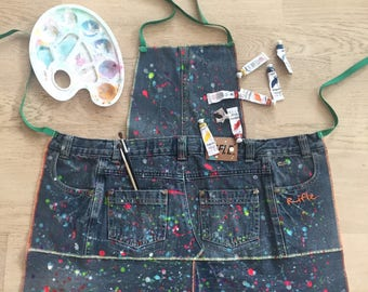 Kids crafts apron , recycled jeans apron, denim apron, girls and boys cooking apron.