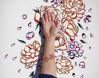 The Peonies Temporary tattoo / Decorative Flowers Temporary Tattoo / Blooming Flowers Flash Tattoo / Spring Flash Tattoo / Body Sticker