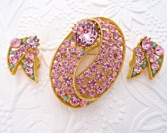 Vtg Lisner Fancy Pink Rhinestone Turquoise Bead Brooch Earring Demi Parure Set