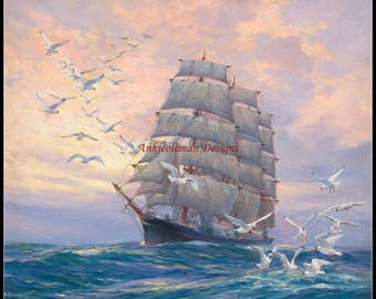 Counted Cross Stitch Patterns Needlework for embroidery - A Sailing Ship