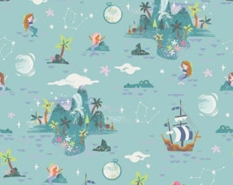 Peter Pan's Neverland Island on Mint Green from Riley Blake's Neverland Collection