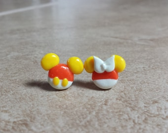 Candy Corn Mickey and Minnie Mouse Inspired Earrings---Halloween Mickey Mouse Inspired Earrings