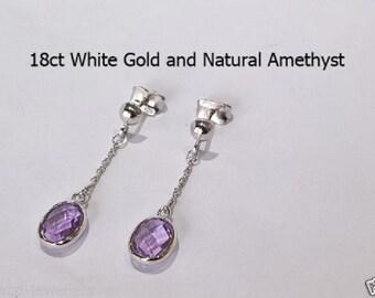18ct 18k 750 White Gold Natural Amethyst Stud Earrings Jewellery