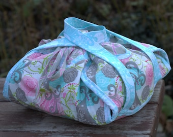 Mother's Day Gift - Pink/Tan/Aqua Casserole Carrier,Insulated Casserole Carrier, Casserole Tote, Hot Dish Carrier, Gift for Teachers,
