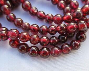Garnet Beads 4mm Deep Red Garnet Stone Smooth Round Bead g017
