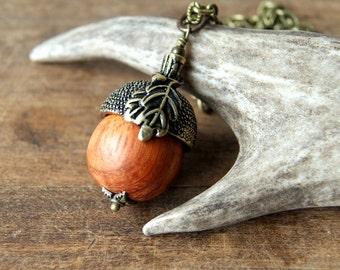 Wooden Acorn Necklace - Acorn Pendant with Antiqued Brass Acorn Cap