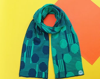 Blowball Green/Navy Double Sided Reversible Knitted Scarf | Warm Winter Gift