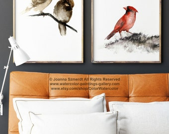 Birds Painting, Brown And Red Art Print, Set Of 2 Watercolor Paintings,  Sparrow