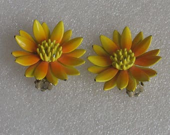 SALE Flower Power Orange and Yellow  Daisy Clip Earrings 1 1/4""