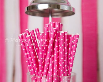 Pink Straws, Hot Pink Polka Dot Straws Bridal Shower Sweet 16 Baby Shower Girl Party Straws, Shower Straws, Pink Straws