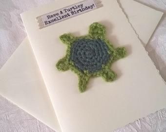 Turtle Birthday Card - Happy Birthday - Crochet Greetings Card - Fun Birthday Card - Personalised - Card for Him - Kid's Birthday