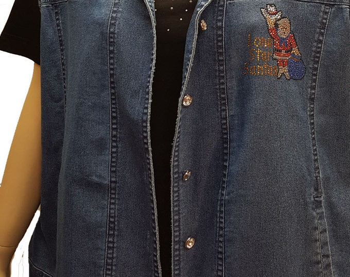 Lonestar Santas Logo bling denim vest with rhinestone buttons and crystal embellishment.