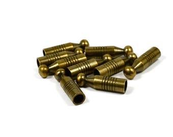 10 Pcs. Antique  Brass 7x26 mm Bolo Tips Cord End , İnside Diameter 5.5 mm