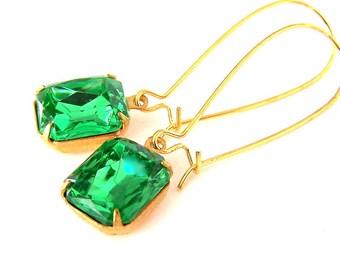 Small peridot green earrings, green octagon vintage glass, brass setting, peridot rhinestone drop, Christmas, bridal earrings, bridesmaids