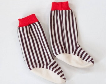 organic baby booties | chocolate-vanilla stripe