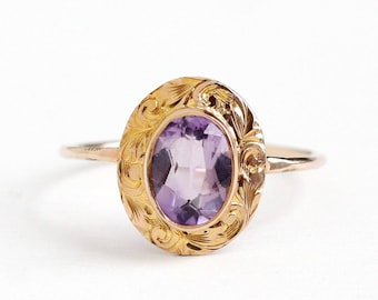 Sale - Antique Amethyst Ring - 10k Rosy Yellow Gold .92 CT - Vintage Size 7 1/2 Edwardian 1900s Purple Gemstone Fine Pin Conversion Jewelry
