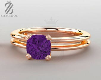 Purple Amethyst Solitaire Ring - 14K Rose Gold - Promise Ring - Engagement Ring - Wedding Ring - Anniversary Ring