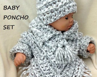 pdf crochet pattern, Baby crochet, baby poncho set, crochet baby sweater, hat and poncho, 2064 , crochet for baby, children's clothing