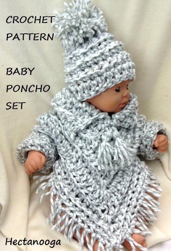 Baby crochet pattern-baby poncho set crochet baby sweater
