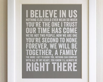 FRAMED Lyrics Print - Bryan Adams, I'll always be Right Here - 20 Colours options, Black/White Frame, Wedding, Anniversary, Valentines, Gift
