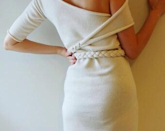 Little White Dress Pleated belt Asymmetric sexy off shoulder dress Unique design( mini)