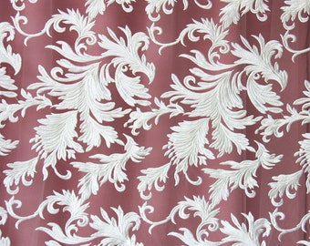 Leaves embroidery Lace fabric in off white,lace sell by yard ,wedding lace ,grass and flower embroidery lace