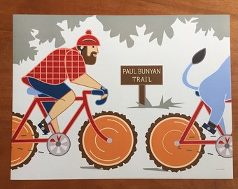 "Paul Bunyan Bike Trail, 18x 24"" poster"