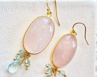 Rose Quartz, Topaz and Aquamarine Earrings