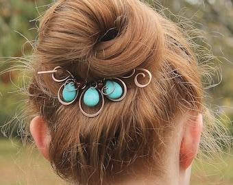 Boho Hair Clip, Beaded Hair Barrette, Turquoise Hair Jewelry, Flower, Hair Slide, Copper Hair Pin,  Hair Accessories for Women Gift
