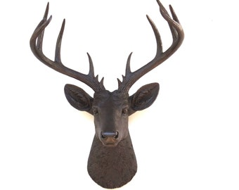 Large Deer Head Sculpture – By Near and Deer Faux Taxidermy - Mystic Brown Stag Wall Mount – Unique Modern Home Decorating accent – ND2727