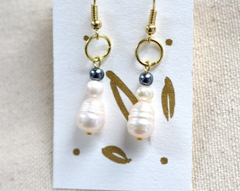 Double Pearl Art Nouveau Drop Earrings with Gold plated hooks and rings   Chic Deco Artsy Gift