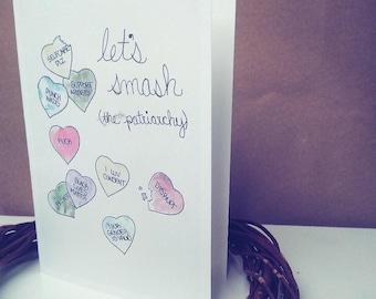 Smash the Patriarchy Valentine Blank Greeting Card