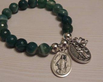 Saint Patrick Medal with Guardian Angel and Four Leaf Clover Lucky Charm - Green White Faceted Gemstone Bracelet 10mm