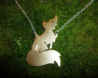 Siting Fox pendant, Jewellery, SquareHare, Vegan, UK, Free Shipping