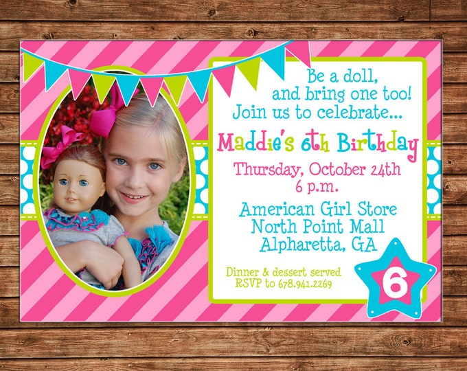 Girl Photo Invitation Doll Bistro Birthday Party - Can personalize colors /wording - Printable File or Printed Cards