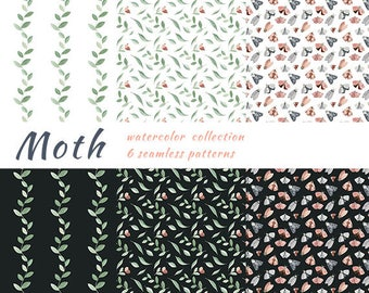Hand Painted Watercolor Moths leaves Digital Paper Pack Butterfly Green Pink Blue Seamless Patterns Repeatable Instant Download