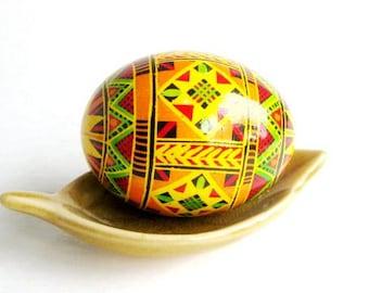 Traditional Ukrainian easter pysanka Yellow Orange egg ornament