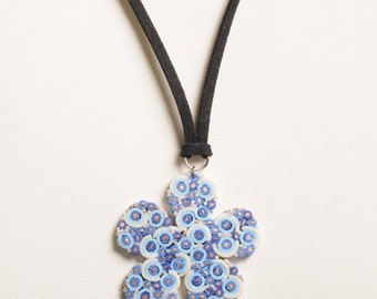Electric wire daisy necklace, FREE SHIPPING, Blue daisy upcycled Pendant charm, Flower jewelry, gift for her, simple boho bohemian charm