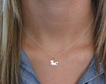 Unicorn Necklace - Sterling Silver Tiny Unicorn Necklace - Unicorn Lover Gift - Unicorn Jewelry - Unicorn Birthday - Girls Unicorn Pendant