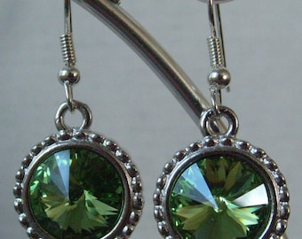 August Peridot Swarovski Crystal Earrings in a Silver Setting with French hook ear wires
