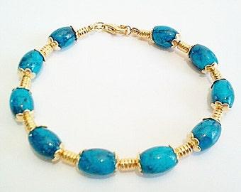 Blue Chunky Glass Beaded Bracelet, Dark Blue Swirls of Color, Gold Statement Bracelet, Handmade Jewelry Gift For Women