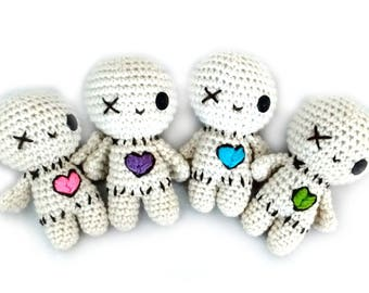 Voodoo Doll amigurumi crochet toy (6-8 inch or rattle) Ratlles Softly!
