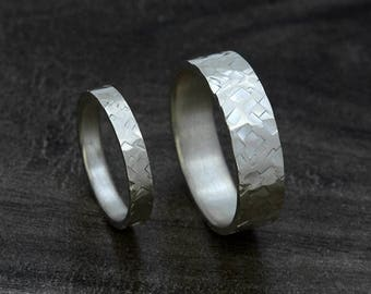 Eco Friendly, Sterling Silver,  Wedding Ring Set, Hammered Ring Bands, Matching Wedding Rings