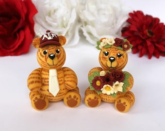 Wedding cake topper, bear cake toppers for wedding, Teddy bear cake topper, custom bride and groom, wedding figurines, wedding bears, banner