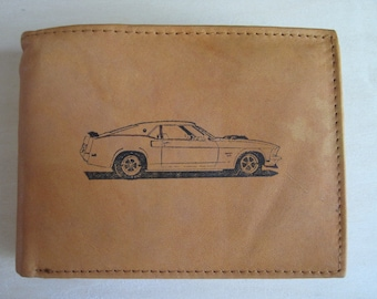 """Mankind Wallets Men's Leather RFID Blocking Billfold w/ """"1969 Ford Mustang Boss 429"""" Image~Makes a Great Gift!"""