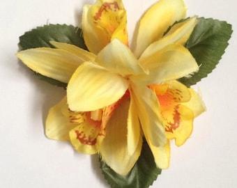 Tiki - Triple exotic orchid hair flower