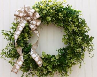 Easter Wreath, Spring Wreath, Bunny Wreath, Boxwood Wreath, Front Door Wreath, Outdoor Wreath, Greenery Wreath, Wreath for Door, Wreaths