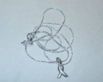 Sterling Silver BREAST CANCER Pendant on silver 18 inch chain necklace